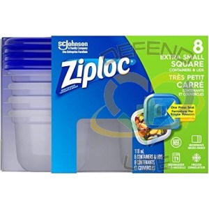 Ziploc Brand Containers - Square X-Small (1X1 Short) - 6/8ct