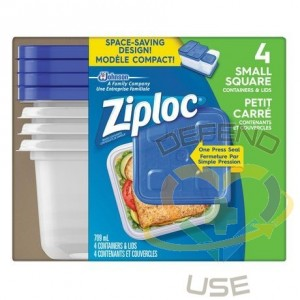Ziploc Brand Containers - Square Small (2X2 Short) -Case of 6/4ct