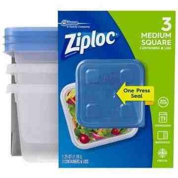 Ziploc Brand Containers - Square Medium (2X2 Tall) - 6/3ct