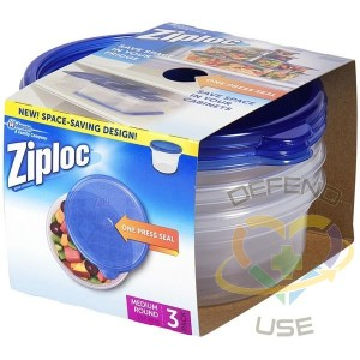 Ziploc Brand Containers - Round Medium - 6/3ct