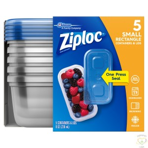 Ziploc Brand Containers - Rectangle Small (1X2 Short) - Case of 6/5ct