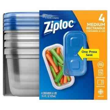 Ziploc Brand Containers - Rectangle Medium(1X2 Tall) - Case of 6/4ct