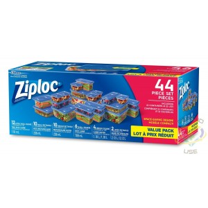 Ziploc Brand Containers - Mixed 44Pc Value Pack - Case of 2/22ct - 2
