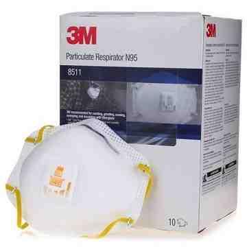 3M 8511 Particulate Respirators, N95, NIOSH Certified, Box/10
