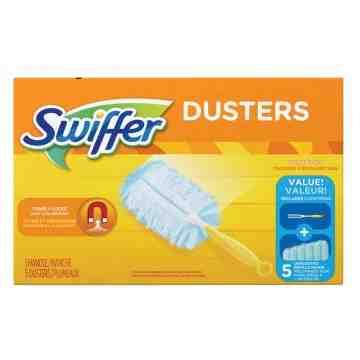 "SWIFFER Duster Kit, Slip On Style, Microfibre, 5"" L x 3-1/2"" W Carton of 5 - 1"