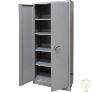 """Storage Cabinet, Steel, 4 Shelves, 66"""" H x 30"""" W x 15"""" D, Grey Shelf Capacity: 100 lbs. Assembly Type: Knocked Down - 1"""