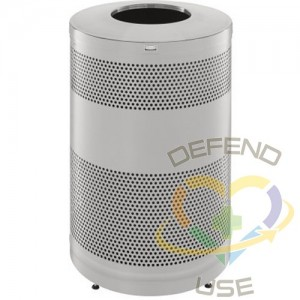 RUBBERMAID, Classics Open Top Decorative Waste Bin, Capacity: 51 US gal., Lid Colour: Stainless Steel