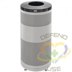RUBBERMAID, Classics Open Top Decorative Waste Bin, Capacity: 25 US gal., Lid Colour: Stainless Steel