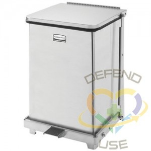 RUBBERMAID, Defenders Square Step Can with Liner, Capacity: 4 US gal., Colour: Stainless Steel