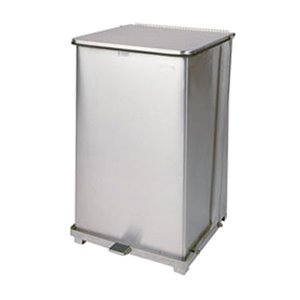 RUBBERMAID, Defenders Square Step Can with Liner, Capacity: 25 US gal., Colour: Stainless Steel