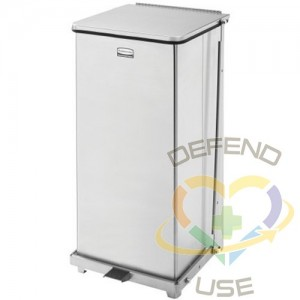 RUBBERMAID, Defenders Square Step Can with Liner, Capacity: 13 US gal., Colour: Stainless Steel