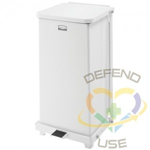 RUBBERMAID, Defenders Step Can with Rigid Liner, Capacity: 6.5 US gal., Colour: White