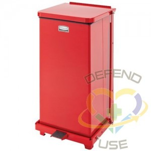 RUBBERMAID, Defenders Square Step Can with Liner, Capacity: 6.5 US gal., Colour: Red