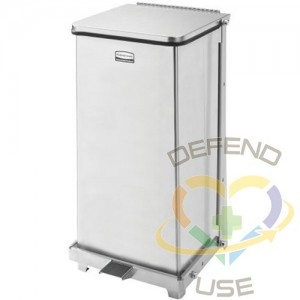 RUBBERMAID, Defenders Square Step Can with Liner, Capacity: 6.5 US gal., Colour: Stainless Steel