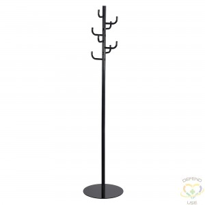 """SAFCO  Safco® Coat Rack Overall Height: 68"""" Colour: Black No. of Hooks: 8 Base Width: 15"""" - 1"""