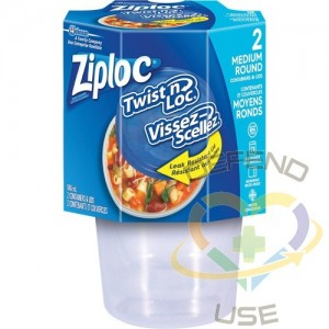 SC JOHNSON PROFESSIONAL, Ziploc Twist 'n Loc Round Food Containers, Colour: Clear, Capacity: 946 ml
