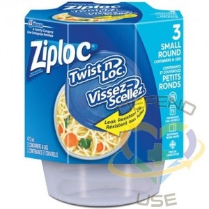 SC JOHNSON PROFESSIONAL, Ziploc Twist 'n Loc Round Food Containers, Colour: Clear, Capacity: 473 ml