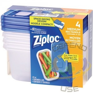 SC JOHNSON PROFESSIONAL, Ziploc Rectangular Food Containers, Colour: Clear, Capacity: 412 ml