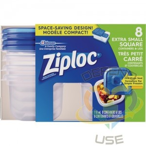 SC JOHNSON PROFESSIONAL, Ziploc Square Food Containers, Colour: Clear, Capacity: 118 ml
