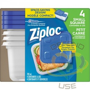 SC JOHNSON PROFESSIONAL, Ziploc Square Food Containers, Colour: Clear, Capacity: 709 ml