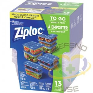 SC JOHNSON PROFESSIONAL, Ziploc Food Containers Variety Pack, Colour: Clear, Total No. of Containers: 13