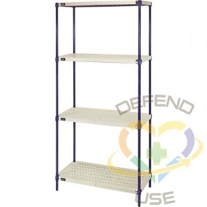 """Wire Shelving Unit with Plastic Shelves, Wire Frame with Plastic Shelves, Boltless, 600 lbs. Capacity, 36""""..."""