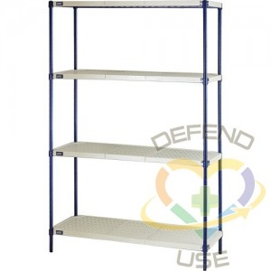 """Wire Shelving Unit with Plastic Shelves, Wire Frame with Plastic Shelves, Boltless, 600 lbs. Capacity, 48""""..."""