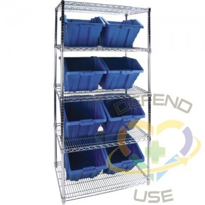 """Heavy-Duty Wire Shelving Units with Storage Bins, 5 Tiers, 36"""" W x 74"""" H x 24"""" D, Colour: Blue"""
