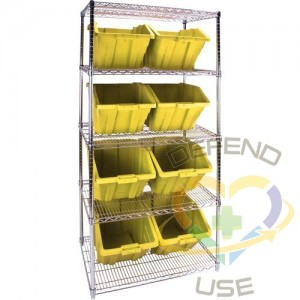 """Heavy-Duty Wire Shelving Units with Storage Bins, 5 Tiers, 36"""" W x 74"""" H x 24"""" D, Colour: Yellow"""