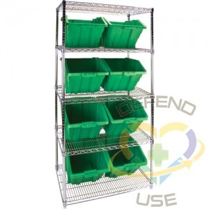 """Heavy-Duty Wire Shelving Units with Storage Bins, 5 Tiers, 36"""" W x 74"""" H x 24"""" D, Colour: Green"""