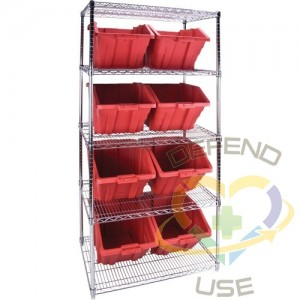 """Heavy-Duty Wire Shelving Units with Storage Bins, 5 Tiers, 36"""" W x 74"""" H x 24"""" D, Colour: Red"""