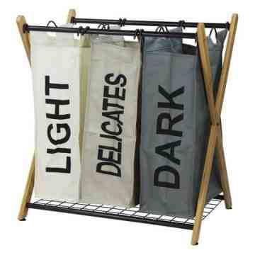 Oceanstar X-Frame Bamboo 3-Bag Laundry Sorter, Color
