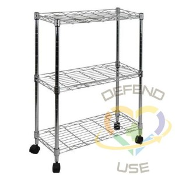 Oceanstar 3-Tier Shelving All-Purpose Utility Cart, Chrome