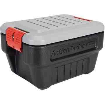 Rubbermaid ActionPacker Lockable Storage Box, 8 Gallon, Grey and Black (1949040) - 1