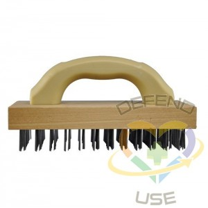 """9"""" Butcher Brush w/Plastic Hdl/Flat Carbon Wire"""