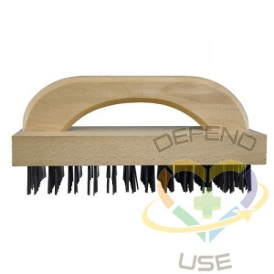 """9"""" D Hdl Butcher Brush w/Wood Hdl/Flat Carbon Wire"""