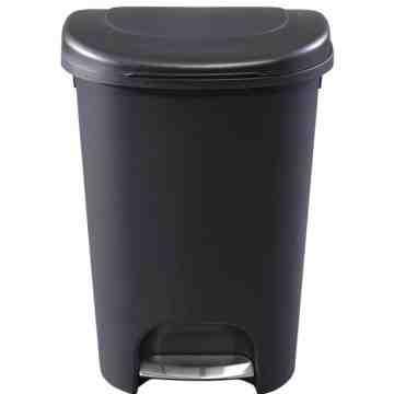 Rubbermaid Housewares, 49.1L Step-On Wastebasket w/Liner Lock - Metal Accent Black, Case of 2