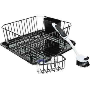 Rubbermaid Housewares, 4pc Sinkware Set - Black, Case of 4