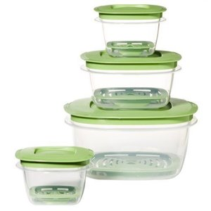 Rubbermaid Housewares, 4 Container Produce Saver Set - Clear/Green, Case of 4