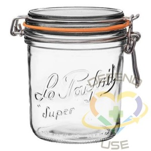 750ml Tapered French Glass Preserving Jar W Airtight Rubber, 12