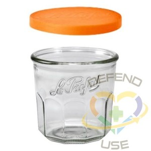 445ml French Jam Pot Faceted Drinking Glass W Orange Cover, 24