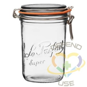 1L Tapered French Glass Preserving Jar W Airtight Rubber, 12