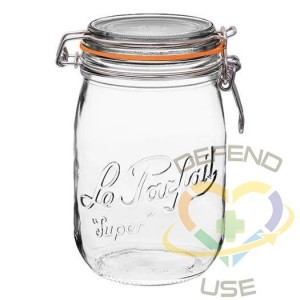 1L Rounded French Glass Storage Jar W Airtight Rubber Seal, 12