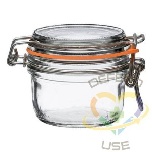 125ml Tapered French Glass Preserving Jar W Airtight Rubber, 24