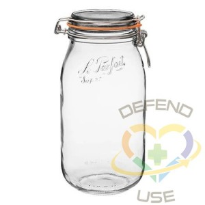 2L Rounded French Glass Storage Jar W Airtight Rubber Seal, 12