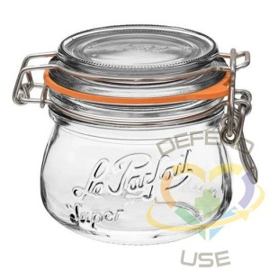 250ml Rounded French Glass Storage Jar WAirtight Rubber Seal, 24