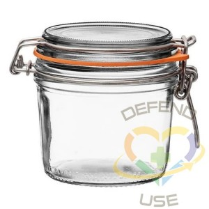 350ml Tapered French Glass Preserving Jar W Airtight Rubber, 18