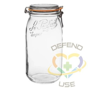3L Rounded French Glass Storage Jar W Airtight Rubber Seal, 9