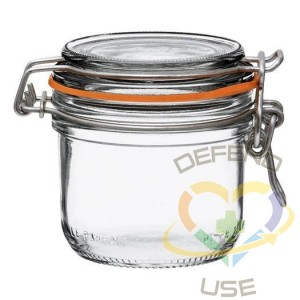 200ml Tapered French Glass Preserving Jar W Airtight Rubber, 18