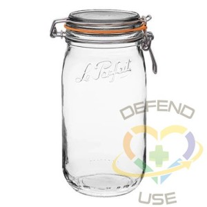 1.5L Rounded French Glass Storage Jar W Airtight Rubber Seal, 12